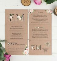 Wedding Invitation - Kraft Floral Monogram