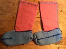 PRELOVED 100% BOILED WOOL HAND MADE BOOT LINERS SLIPPERS PINK & BLUE