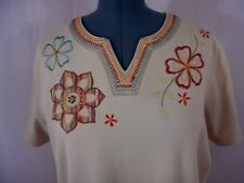 Alfred Dunner Women's Casual Multi-Color Y-Neck Short Sleeve Top Size 1X