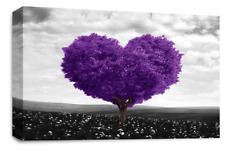 FLORAL FLOWER Canvas Wall Art Picture Purple Grey Black White Love Heart Tree 44