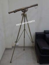 Nautical Design Brass Wheel Telescope Adjustable Antique Tripod Stand