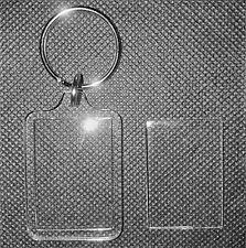 150x Blank Clear Acrylic Keyrings 35x24mm Photo Size Key Ring Plastic F1444