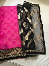 Bollywood Designer Party Bridal Saree with blouse Hot Pink