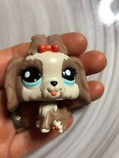 Littlest Pet Shop LPS #2130 Lhasa Apso Puppy Dog Brown Orange Bow Blue Eyes