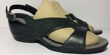 MERRELL Womens Black Leather PRIMROSE Open Toe Wedge Slingback Sandals (Size 9)