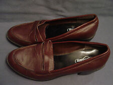 """WOMEN'S """"SKECHERS"""" BROWN LEATHER LOAFERS SIZE 9.5   3"""" CHUNK HEEL"""