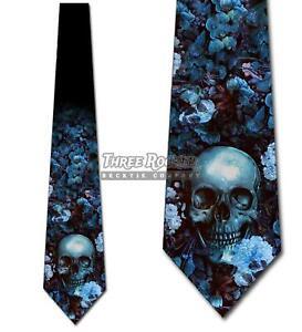 Blue Floral Skull Ties Halloween Tie Men's Gothic Neck Ties Brand New