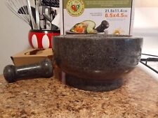 "Casa Maria Mortar and Pestle Molcajete 8.5"" Large Natural Stone Mexican Bowl"