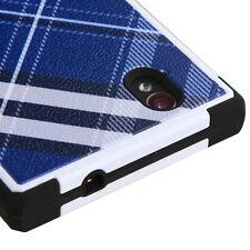 FOR ZTE WARP ELITE N9518 BLUE WHITE PLAID NATURAL TUFF IMPACT CASE COVER