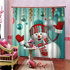 Christmas Curtain Cute Snowman Living Room Bedroom Window Drapes 2 Panel Set