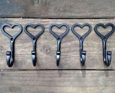 5 X Hand Made Heart Hook Shaker Love Wrought Iron Coat Hooks Vintage Shabby Chic