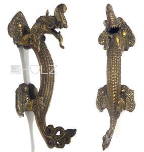 Bronze Push Handle Antique Asian Art Dragon Door Handle
