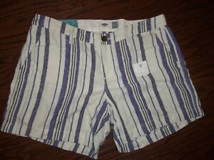 NWT OLD NAVY BLUE STRIPE LINEN BLEND SHORTS: SIZE: 6