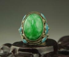 Chinese old Inlay Green Jade Old Tibet Silver Cloisonne Flower Ring