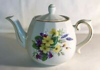 English Gold Trimmed Floral Teapot With Lid