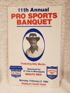 RARE 1984 St. Paul Minute Men Banquet Prog, Billy Martin, George Mikan AUTOGRAPH