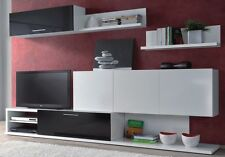 Lanza TV Unit Living Room Furniture Set Media Wall Melamine Black and White