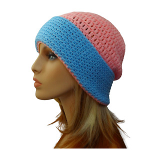 Women Crochet Beanie Pink Blue Acrylic Aust Made Winter Cap Ladies Knit Hat New