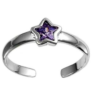 Star Toe Ring Genuine Sterling Silver 925 Amethyst Rhodium Plate Face Height 5mm