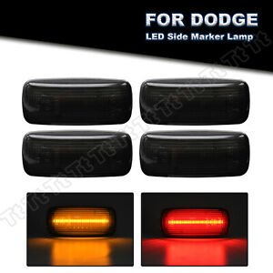 For 10-18 Dodge Ram 2500 3500 Dually Bed LED Fender Side Marker Light Smoked 4PC