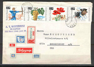 Hungary 0064 FDC 1966 Used by mail 4v Registered CV 7,50 eur Grapes Flowers DOGS