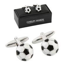 NEW Harvey Makin Rhodium plated football cufflins mens dad grandad groom