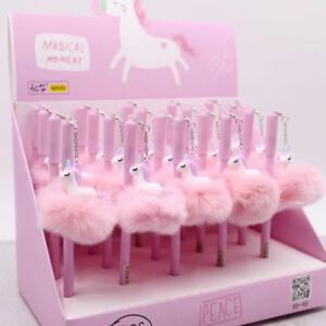 Pink Unicorn Flamingo Soft Ball Ballpoint Pen Stationery Writing Instrument Tool