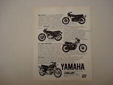 advertising Pubblicità 1976 MOTO YAMAHA RD 350 C/XS 500/XT 500 ENDURO/XS 650