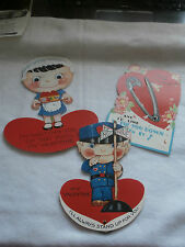 Vintage 1930s Valentine Card Large Mechanical Safety Pin Weighted Police Officer