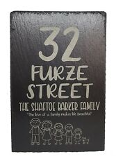 CUTE LASER ENGRAVED HOUSE NUMBER PLAQUE, SIGN LARGE ADDRESS FAMILY NAME