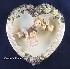 Heartstrings Of Love 2nd In Everlasting Love Heart Shape Plate Floral Cherubs