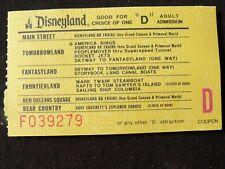"1970's Disneyland ""D"" ticket 13 rides among five ""Lands like fantasy, tomr, fron"