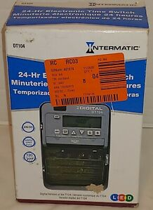NEW Intermatic DT104 2-Circuit 20 Amp 24 Hour Indoor Programmable Electric Timer