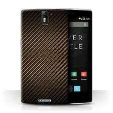 Stuff4 Phone Case/back Cover for OnePlus One /carbon Fibre Effect/pattern Gold