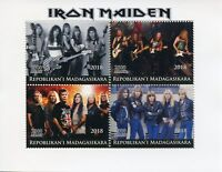 Madagascar Music Stamps 2018 MNH Iron Maiden Heavy Metal Band Guitars 4v M/S