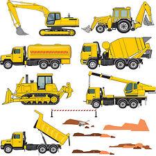 Digger camion bulldozer grue benne garçons chambre wall stickers graphics decals