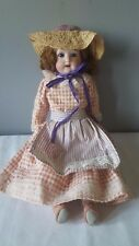 """Antique Doll Porcelain Bisque Sleepy Eyes Teeth Leather Body Made in Germany 14"""""""