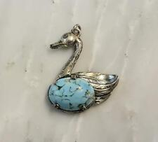 Danecraft Sterling Silver Swan Pendant w/ Blue Agate ~ 6.4 grams ~ 5-I6136