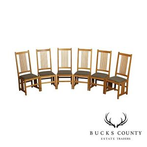 Stickley Mission Collection Set 6 Oak Spindle Dining Chairs