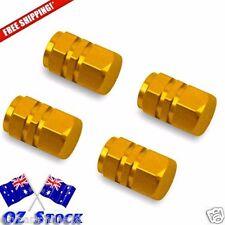 4 Gold Wheel Tyre Valve Caps Air Dust Cover Aluminium Car -Oz Stock