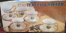 ROMEO & JULIET GOLD HANDLED TEA CUP AND SAUCER SET OF 6-12 Pc. Set -NEW