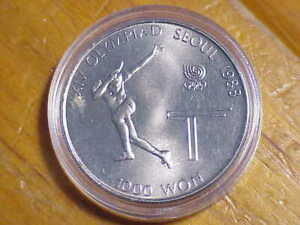 1000 Won 1988 South Korea Olympics Tennis Commemorative Coin