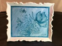 Mini Painting on Porcelain Signed by Artist Blue 1988 4.5X5 Inch BUTTERFLIES