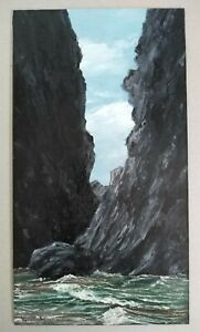 ORIGINAL painting OIL on panel SEASCAPE art Vernon W Jones SMALL cliff SCENE