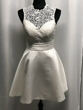 Lulus Off White Fit And Flare Lace Halter Sweetheart Neck Mini Dress