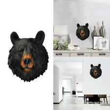 Resin Sculpture Bear Ornament Animal Head Wall Hanging For Home Office Decor HQ