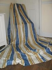EXTRA LARGE FRENCH BROCADE DAMASK CURTAINS VINTAGE 100% COTTON CREAM GOLD NAVY