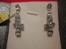 Simulated Diamond Dangle Earrings in Platinum Overlay-15.37 Carats