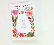 Thank You Teacher Floral Greeting Cards for Appreciation Cute Thanks TEACHER26