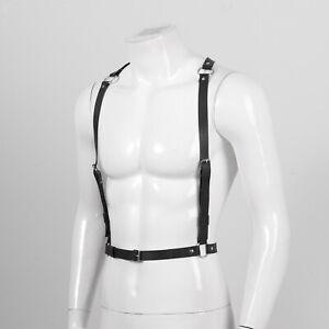 Men PU Leather Adjustable Shoulder Straps Rivets O-ring Y Hollow Belt Harness